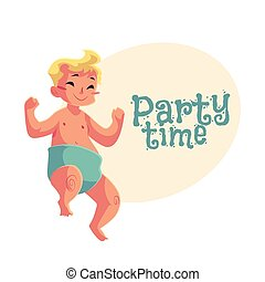 Cute little baby boy dancing happily, party invitation,...