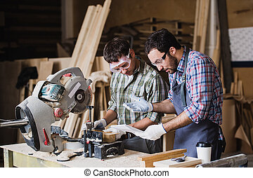 Inspector and carpenter discuss the process of making wood...