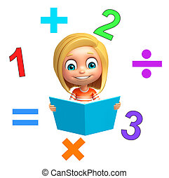 kid girl with Math sign and book