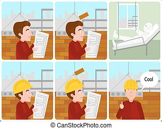 Accident on a building site cartoon vector - Accident on a...