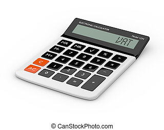 3d rendering of calculator wit vat text isolated over white...