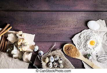 Christmas baking wooden background