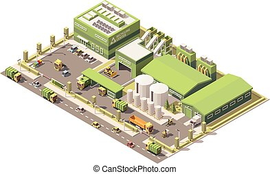 Vector isometric low poly garbage recycling center - Vector...