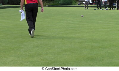 Seniors playing lawn bowling - Group of mature men playing...