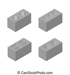 A set of isometric cinder blocks, vector illustration.