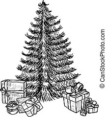 Hand drawn sketch Christmas tree and gifts