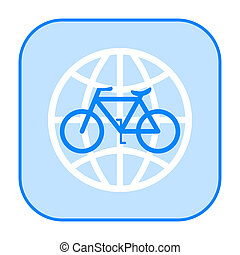 Bicycle and globe icon