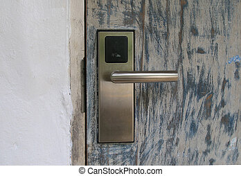 security door with the key card.Electronic lock