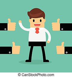 Happy Businessman with many hands thumbs up. feedback...