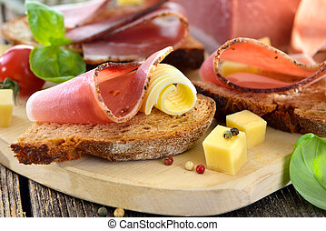 Bacon snack with mountain cheese