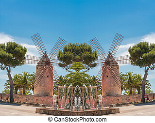 Photomontage, two old historic windmill at a country estate...
