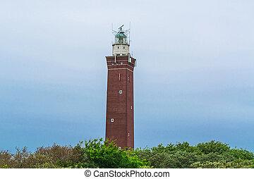 Quadrangular Lighthouse in the dunes - Quadrangular...