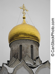 Vertical golden dome of orthodox temple backdrop hd