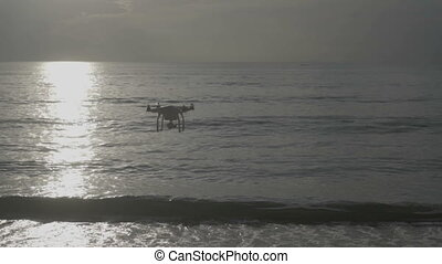Drone at the beach - Video of quadcopter quadrocopter flying...