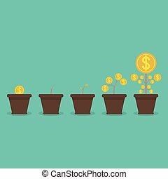 Money plant. Money growth and business investment growth concept