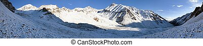 Morning panorama from Alay (Ali, Alaj) mountains -...