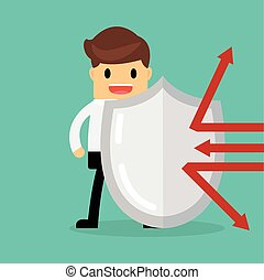 Businessman with shield, Business concept.