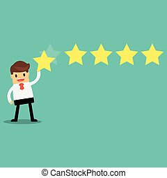 Businessman giving five star rating, Feedback concept,...
