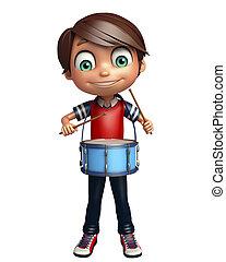 kid boy with drum