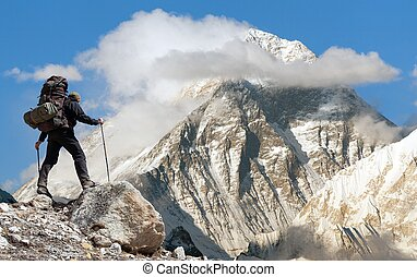 Evening view of Everest from Gokyo ri with tourist on the...