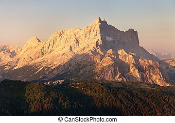 Morning view of Mount Civetta, Dolomites Alps mountains -...