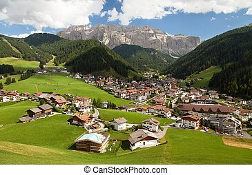 Selva Val Gardena or Wolkenstein and Gruppo di Sella - Selva...