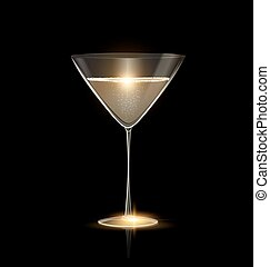 light glass of champagne - dark black background and the...