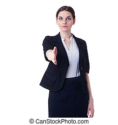 Businesswoman standing over white isolated background,...