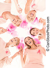 Ladies in pink against cancer - Happy ladies in pink against...