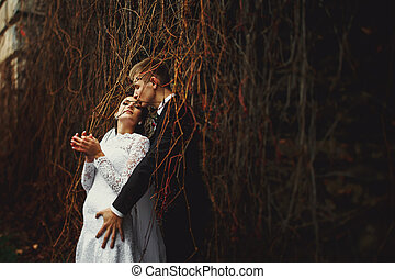 Groom kisses bride's forehead standing behind a dry ivy