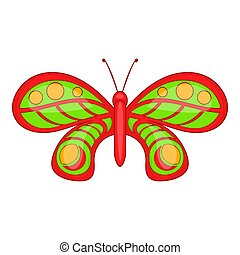 Butterfly with ornament icon, cartoon style - Butterfly with...