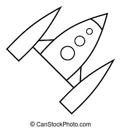 Space rocket icon, outline style - Space rocket icon....