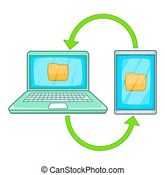 Mobile data synchronization icon, cartoon style - Mobile...