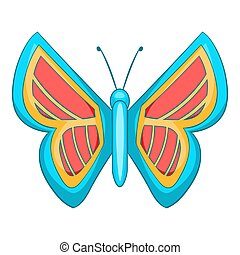 Blue and red butterfly icon, cartoon style - Blue and red...