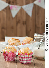 Coconut Muffins. Pennant Flags Holiday Decorations. -...