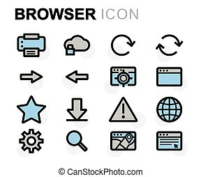 Vector flat browser icons set