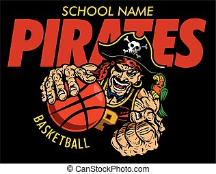 pirates basketball team design with muscular mascot player...