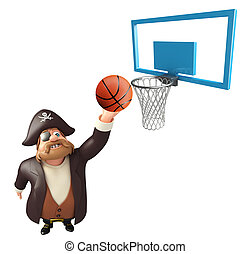 Pirate with Basket & basketball