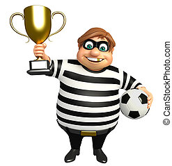 Thief with Winning cup & football