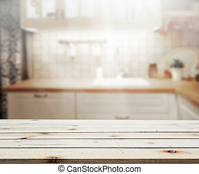 Table Top And Blur Kitchen Room of Background - Table Top...