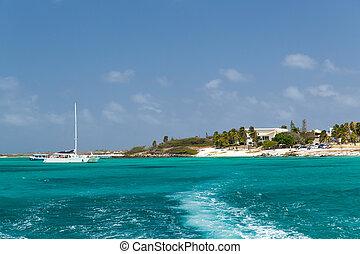 Aruba coastline - A view from sea back to the coast in Aruba...