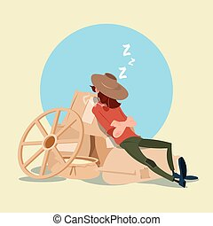 Farmer Countryman Sleeping On WHeat Sacks Flat Vector...