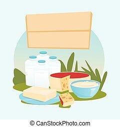 Milk Dairy Products Eco Fresh Farm Logo