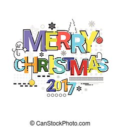 Merry Christmas Happy New Year Simple Line Sketch Banner...
