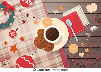 Decorated Workspace Desk Cup With Cookies Top Angle View...
