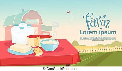 Table With Milk Dairy Products Eco Fresh Farm Background