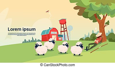 Farmer Shepherd Breeding Sheep Wool Farm Flat Vector...