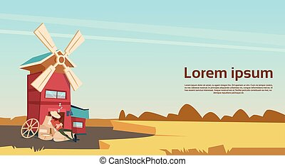Farmer Near Windmill Wheat Harvest Farmland Banner Flat...