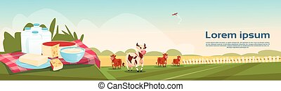 Cows Fresh Milk Dairy Products Eco Farming Banner