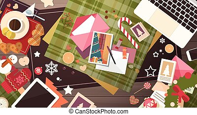 Decorated Workspace Desk Copy Space Top Angle View Flat...